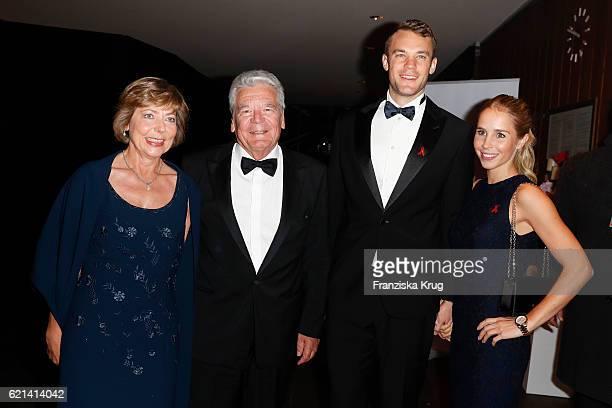 Daniela Schadt Joachim Gauck Manuel Neuer goal keeper FCBayern and his girlfriend Nina Weiss arrive at the 23rd Opera Gala at Deutsche Oper Berlin on...