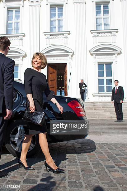 Daniela Schadt new German president's partner arrives at the Bellevue Presidential Palace, for the welcome ceremony with military honours on March...