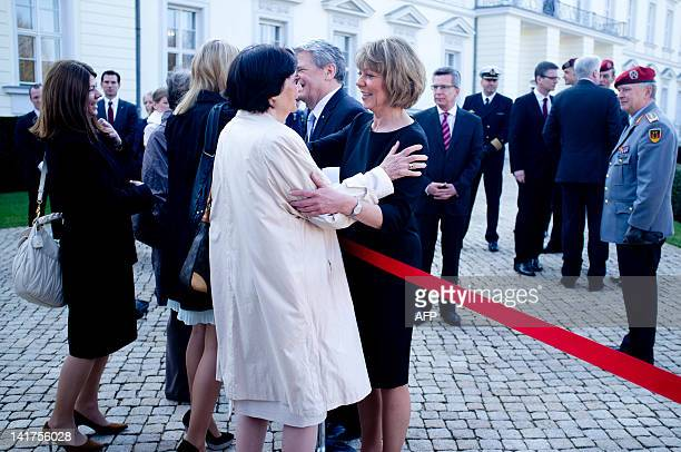 Daniela Schadt , the partner of the new german president, is greating her mother Doris Schadt at the Bellevue Presidential Palace after the welcome...