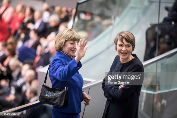 Daniela Schadt wife of German President Joachim Gauck and Elke Buedenbender wife of the candidate for German President FrankWalter Steinmeier attend...