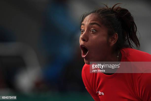 Daniela Seguel of Chile celebrates during the first day of the Tennis Fed Cup American Zone Group 1 at Club Deportivo La Asuncion on February 06 2017...
