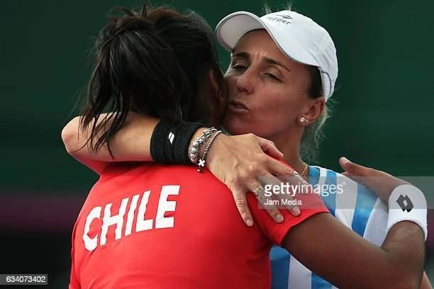 Daniela Seguel of Chile greets Maria Irigoyen of Argentina during the first day of the Tennis Fed Cup American Zone Group 1 at Club Deportivo La...