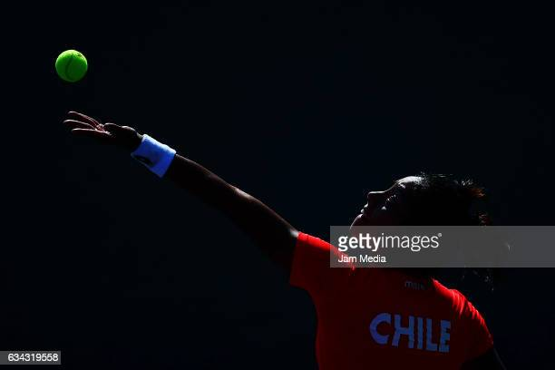 Daniela Seguel of Chile serves during the third day of the Tennis Fed Cup American Zone Group 1 at Club Deportivo La Asuncion on February 08 2017 in...
