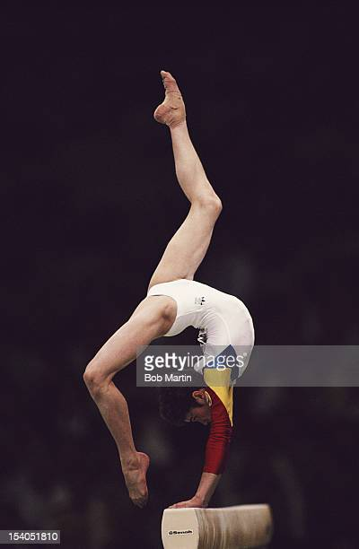 Daniela Silivas of Romania during the Women's Balance beam eventon 25th September 1988 during the XXIV Summer Olympic Games at the Olympic Gymnastics...