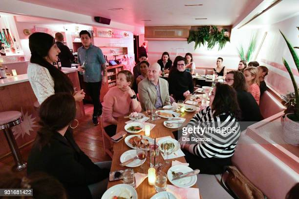 Daniela Simba speaks during the Trans Awareness Dinner at Pietro Nolita on March 13 2018 in New York City