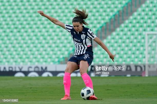 Daniela Solis of Monterrey kicks the ball during a match between Santos and Monterrey as part of the Torneo Grita Mexico A21 Liga MX Femenil at...