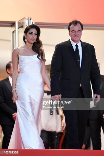 Daniela Tarantino and Quentin Tarantino depart the screening of Once Upon A Time In Hollywood during the 72nd annual Cannes Film Festival on May 21...