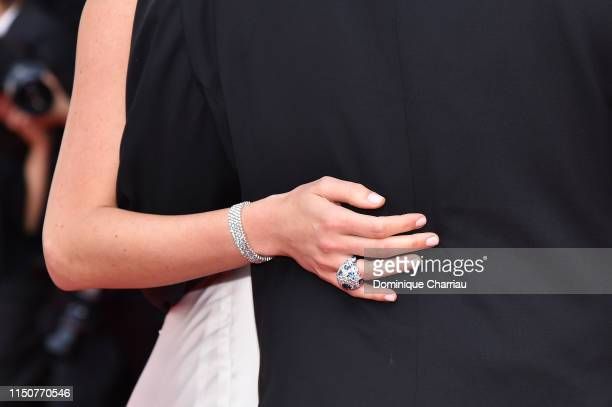 Daniela Pick fashion detail attends the screening of Once Upon A Time In Hollywood during the 72nd annual Cannes Film Festival on May 21 2019 in...