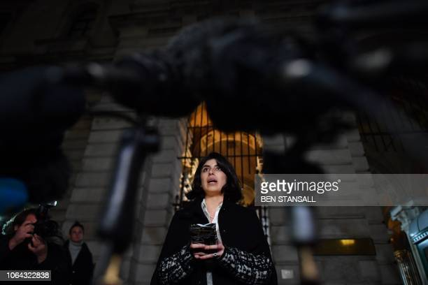 Daniela Tejada wife of detained British scholar Matthew Hedges makes a statement to the media outside the Foreign and Commonwealth Office in central...