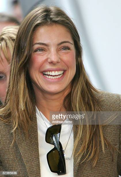 Daniela, the girlfriend of Brasilian football player, Ronaldo, attends the CeBIT technology trade fair March 14, 2005 in Hanover, Germany. CeBIT, the...