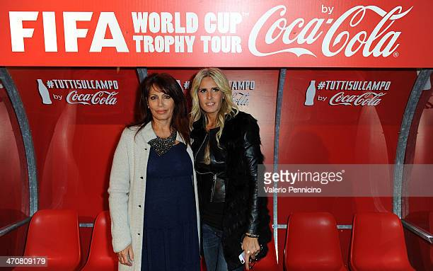Daniela Vergara and Tiziana Rocca attend a party during day two of the FIFA World Cup Trophy Tour on February 20 2014 in Rome Italy