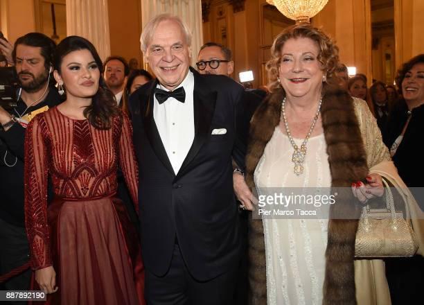 Daniela Weisser Alexander Pereira and Diana Bracco attend the Prima Alla Scala at Teatro Alla Scala on December 7 2017 in Milan Italy