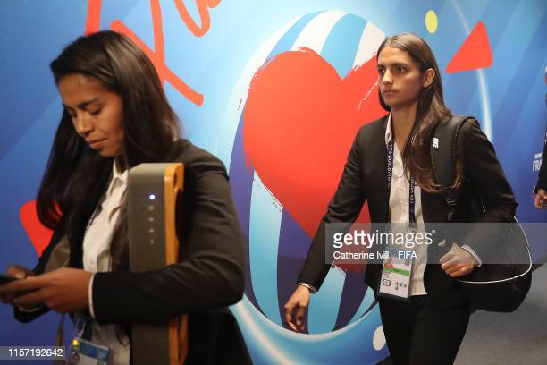 Daniela Zamora of Chile arrives prior to during the 2019 FIFA Women's World Cup France group F match between Thailand and Chile at Roazhon Park on...