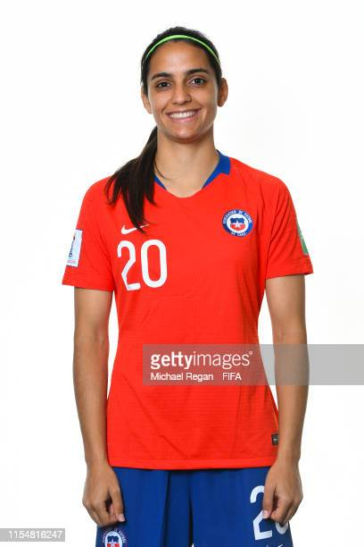 Daniela Zamora of Chile poses for a portrait during the official FIFA Women's World Cup 2019 portrait session at Best Western Plus Hotel Isidore on...