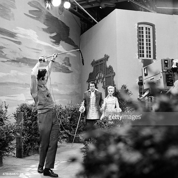 Daniele Ajoret during the shooting of a scene of ''The School of the Fathers'' of Jean Anouilh realized by Bernard Roland