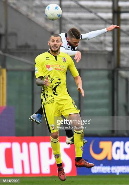 Daniele Altobelli of Pro Vercelli FC competes for the ball whit Simone Iacoponi of Parma Calcio during the Serie B match between Parma Calcio and Pro...