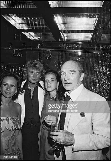 Daniele Barclay Johnny Hallyday Sabrina and Eddie Barclay celebrate Hallyday's 38th birthday at the Elysee Matignon night club in Paris in 1981