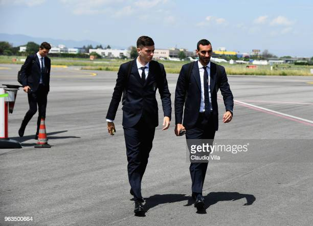 Daniele Baselli and Davide Zappacosta of Italy arrive at the Florence Airport on May 29 2018 in Florence Italy