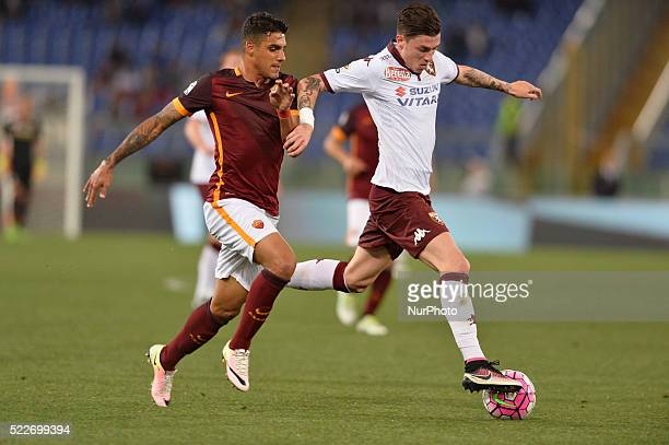Daniele Baselli Emerson Palmieri during the Italian Serie A football match AS Roma vs FC Torino at the Olympic Stadium in Rome on april 20 2016
