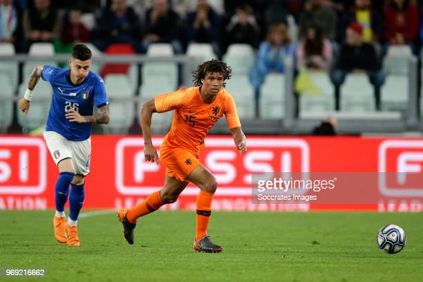 Daniele Baselli of Italy Nathan Ake of Holland during the International Friendly match between Italy v Holland at the Allianz Stadium on June 4 2018...