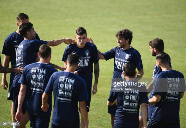Daniele Baselli of Italy reatcs during a Italy training session at Centro Tecnico Federale di Coverciano on May 26 2018 in Florence Italy