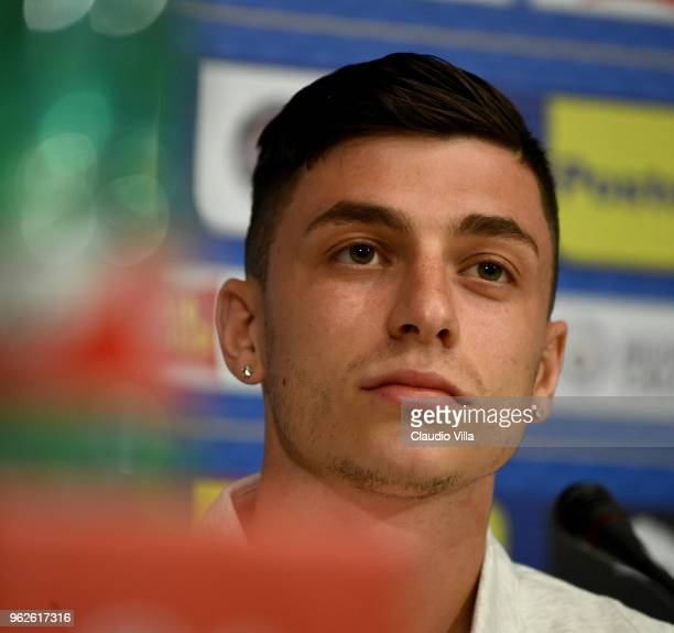 Daniele Baselli of Italy speaks with the media during a Italy press conference at Centro Tecnico Federale di Coverciano on May 26 2018 in Florence...