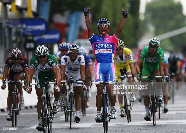 Daniele Bennati of Italy and Lampre celebrates winning Stage Twenty of the Tour de France on July 29, 2007 in Paris, France.