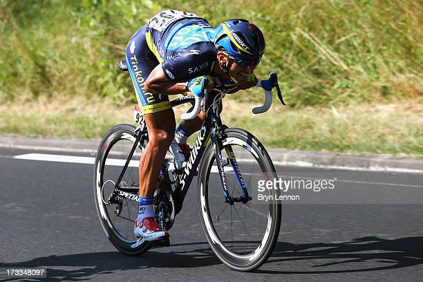 Daniele Bennati of Italy and Team Saxo-Tinkoff drives the pace during stage thirteen of the 2013 Tour de France, a 173KM road stage from Tours to...