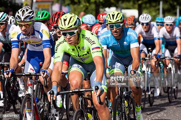 Daniele Bennati of team Thinkoff is let by teammate Michael Walgren in the PostNord Tour of Denmark cycle race stage two in Soenderborg Denmark on...