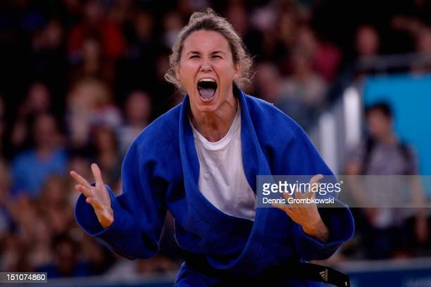 Daniele Bernardes Milan of Brazil celebrates after winning bronze medal at Women's 63kg Judo competition on day 2 of the London 2012 Paralympic Games...