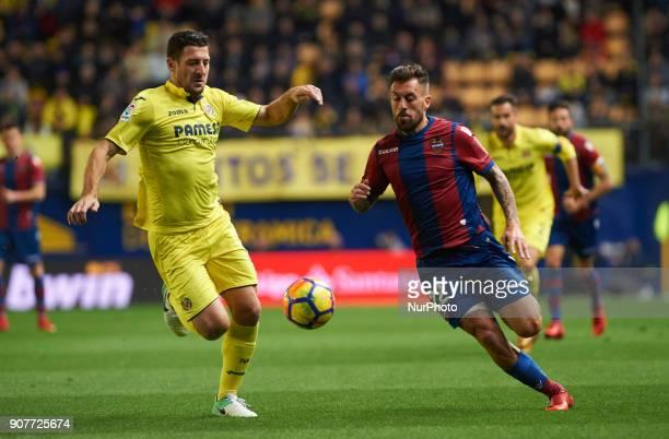 Daniele Bonera of Villarreal CF and Antonio Luna of Levante Union Deportiva during the La Liga match between Villarreal CF and Levante Union...