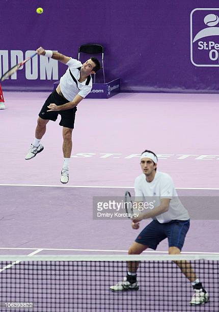 Daniele Bracciali and Potito Starace of Italy in action during final match of the International Tennis Tournamen St Petersburg Open 2010 match...