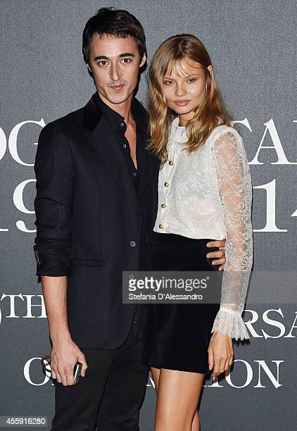 Daniele Cavalli and Magdalena Frackowiak attend Vogue Italia 50th Anniversary Event on September 21 2014 in Milan Italy
