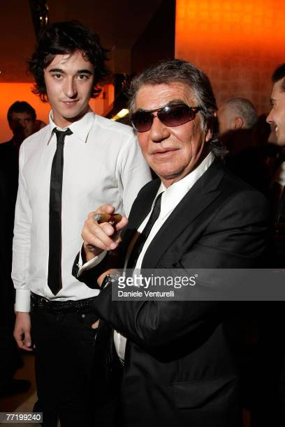 Daniele Cavalli and Roberto Cavalli attends the cocktail party to celebrate the opening of the Roberto Cavalli flagship store avenue Montaigne on...
