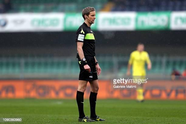 Daniele Chiffi referee during the Serie A match between Chievo Verona and ACF Fiorentina at Stadio Marc'Antonio Bentegodi on January 27 2019 in...