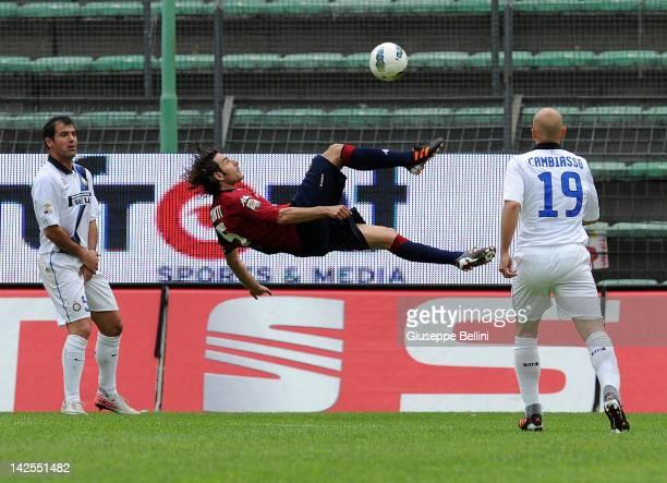 Daniele Conti of Cagliari in action during the Serie A match between Cagliari Calcio and FC Internazionale Milano at Stadio Nereo Rocco on April 7...