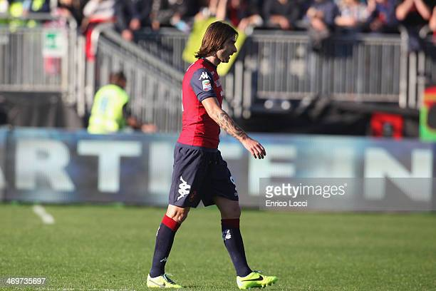 Daniele Conti of Cagliari leaves the pitch after being sent off during the Serie A match between Cagliari Calcio and AS Livorno Calcio at Stadio...