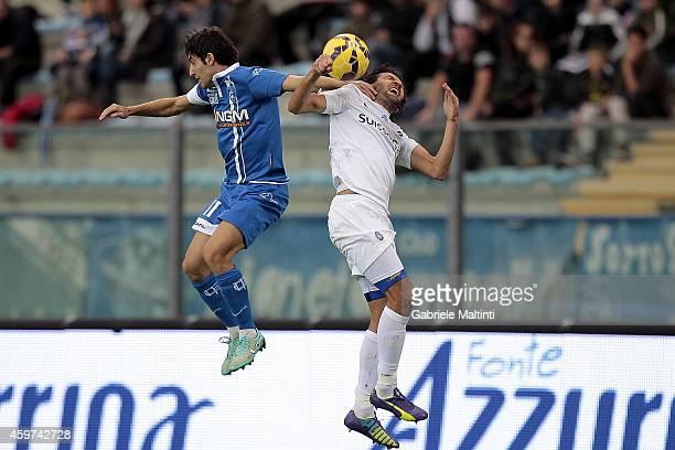 Daniele Croce of Empoli FC battles for the ball with Cristian Raimondi of Atalanta BC during the Serie A match between Empoli FC and Atalanta BC at...