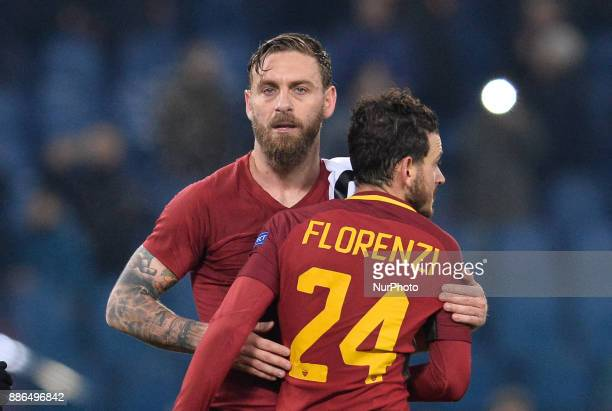 Daniele De Rossi Alessandro Florenzi during the Champions League football match AS Roma vs Qarabag at the Olympic Stadium in Rome on december 05 2017