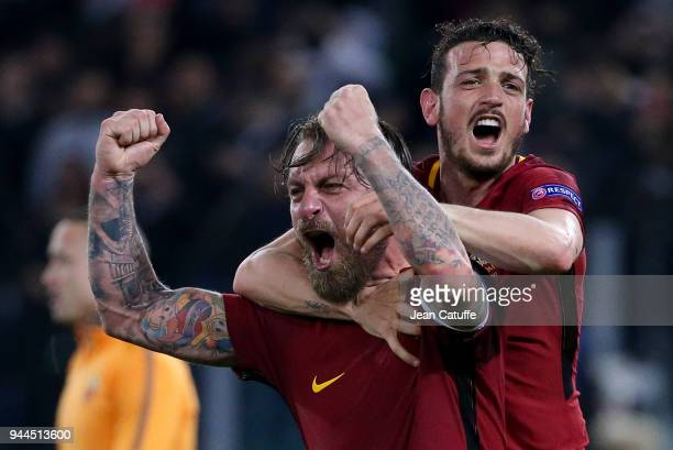 Daniele De Rossi Alessandro Florenzi of AS Roma celebrate the qualification for the semis following the UEFA Champions League Quarter Final second...