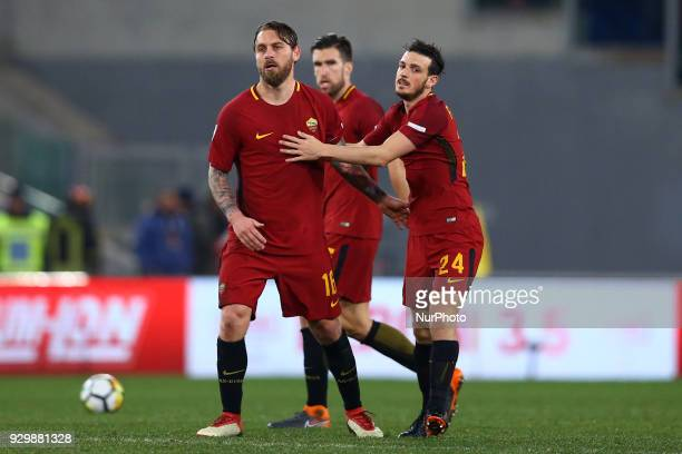 Daniele De Rossi and Alessandro Florenzi of Roma after the goal of 20 during the Italian Serie A football match between AS Roma and FC Torino at the...