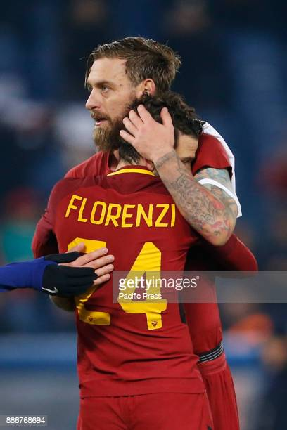 Daniele De Rossi and Alessandro Florenzi of Roma celebrates after defeating Qarabag in their UEFA Champions League Group C soccer match in Rome Roma...