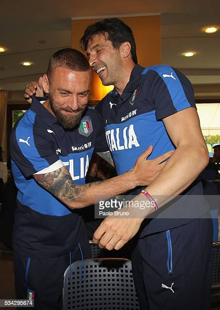 Daniele De Rossi and Gianluigi Buffon attend Italian Football Federation Sponsor's Day at Coverciano on May 24 2016 in Florence Italy