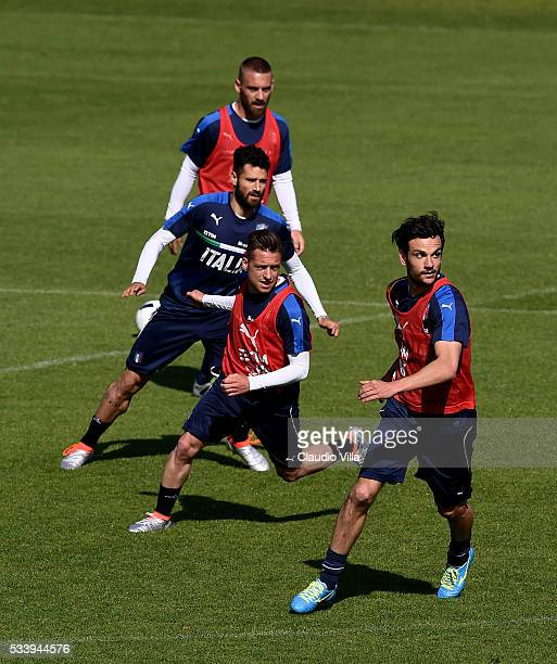 Daniele De Rossi Antonio Candreva Emanuele Giaccherini and Marco Parolo during the Italy training session at the club's training ground at Coverciano...