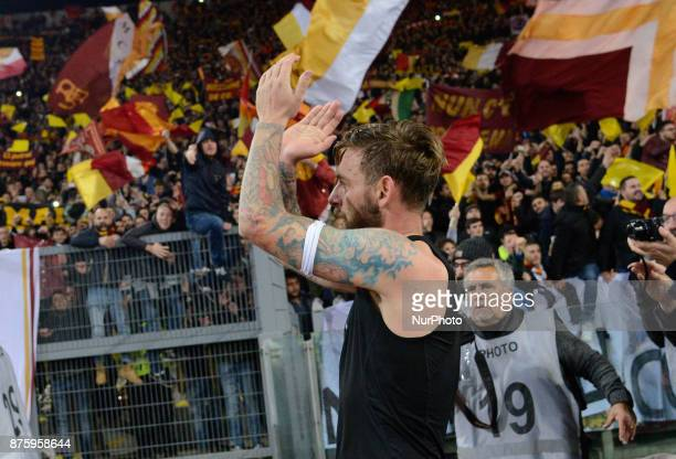 Daniele De Rossi celebrates under Curva Sud during the Italian Serie A football match between AS Roma and SS Lazio at the Olympic Stadium in Rome on...