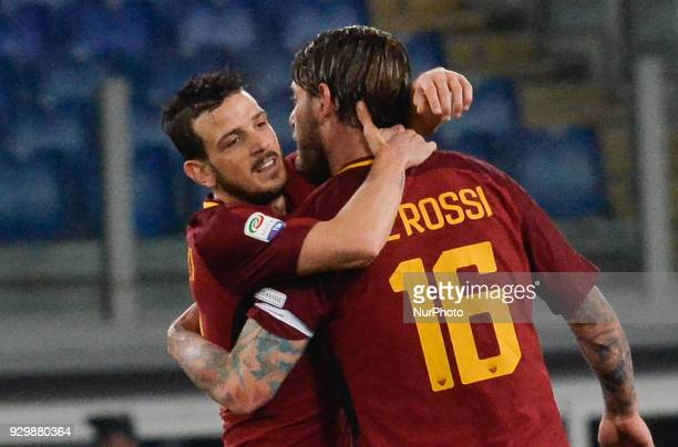 Daniele De Rossi celebrates with Alessandro Florenzi after score goal 20 during the Italian Serie A football match between AS Roma and FC Torino at...