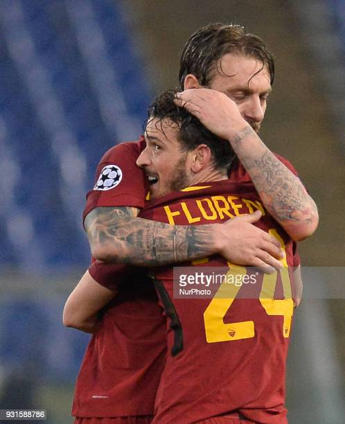 Daniele De Rossi celebrates with Alessandro Florenzi after the Champions League football match AS Roma vs Shakhtar Donetsk at the Olympic Stadium in...
