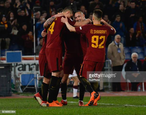 Daniele De Rossi celebrates with Radja Nainggolan after score goal 20 during the Italian Serie A football match between AS Roma and FC Torino at the...