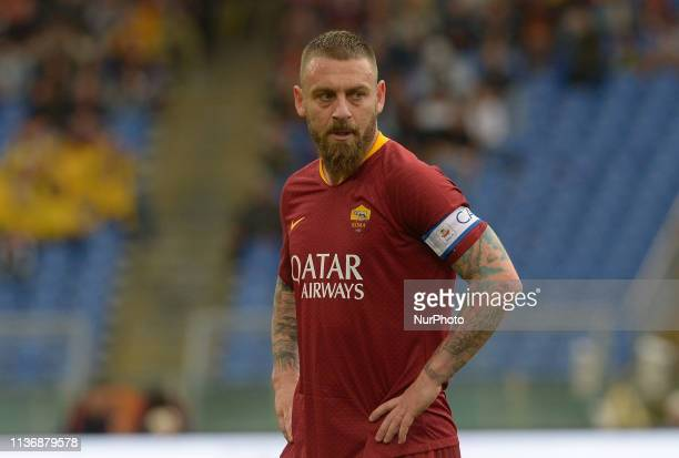 Daniele De Rossi during the Italian Serie A football match between AS Roma and Udinese at the Olympic Stadium in Rome on april 13 2019