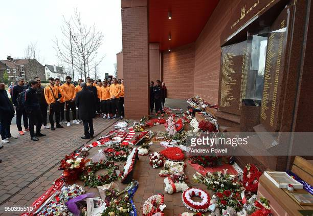Daniele De Rossi Edin Dzeko Alisson Becker Radja Nainggolan Kostas Manolas Patrik Schick and the rest of AS Roma pay tribute to victims of the...